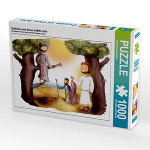 Zachäus und Jesus treffen sich 1000 Teile Puzzle quer