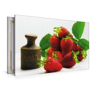 Premium Textil-Leinwand 120 cm x 80 cm quer Frische Erdbeeren