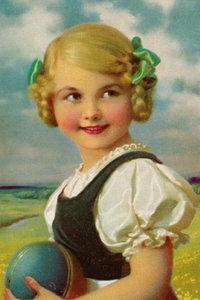 Premium Textil-Leinwand 60 cm x 90 cm hoch Mädchen mit Ball