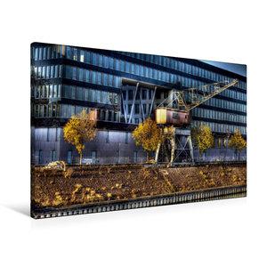 Premium Textil-Leinwand 90 cm x 60 cm quer Duisburger Innenhafen