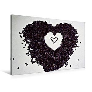 Premium Textil-Leinwand 90 cm x 60 cm quer Ein Herz für Kaffee