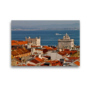 Premium Textil-Leinwand 45 cm x 30 cm quer Blick über Lissabon