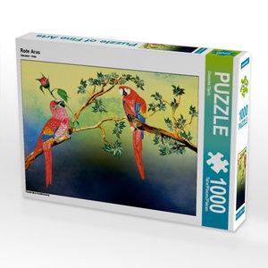 Rote Aras 1000 Teile Puzzle quer