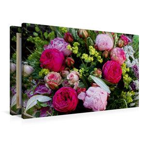 Premium Textil-Leinwand 90 cm x 60 cm quer Bunter Blumenstrauss