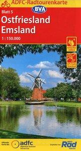 ADFC-Radtourenkarte 5 Ostfriesland / Emsland 1:150.000, reiß- un