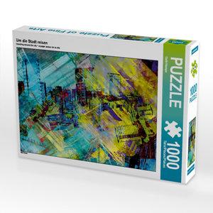 Um die Stadt reisen 1000 Teile Puzzle quer