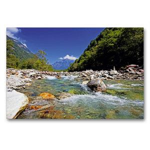 Premium Textil-Leinwand 90 cm x 60 cm quer Der Verzasca Fluss fl