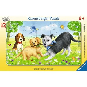 Ravensburger 06130 - Spielende Welpen, Rahmenpuzzle 15 Teile