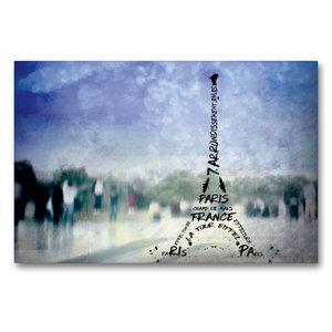 Premium Textil-Leinwand 90 cm x 60 cm quer PARIS Trocadero und E