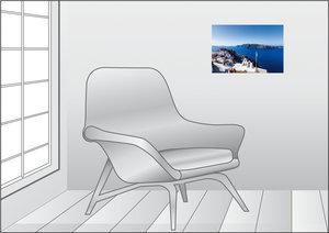 Premium Textil-Leinwand 45 cm x 30 cm quer Nordseite von Oia