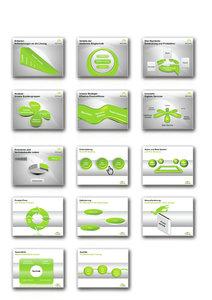 1000 Folien - 3D PowerPoint Vorlagen - Farbe: fresh.green (2016)