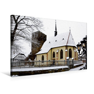 Premium Textil-Leinwand 75 cm x 50 cm quer Charmante Dorfkapelle