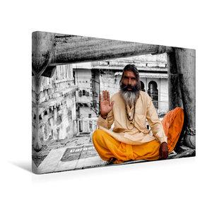 Premium Textil-Leinwand 45 cm x 30 cm quer Indien - heiliger Man