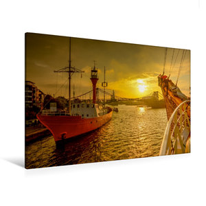 Premium Textil-Leinwand 120 cm x 80 cm quer Feuerschiff Weser am