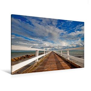 Premium Textil-Leinwand 120 cm x 80 cm quer Kleine Seebrücke