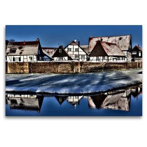 Premium Textil-Leinwand 120 cm x 80 cm quer Winterlicher Dorfcha