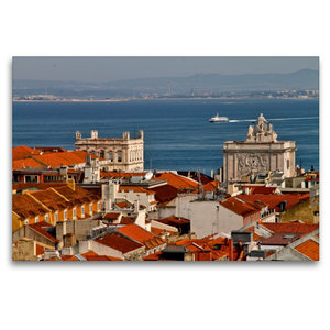 Premium Textil-Leinwand 120 cm x 80 cm quer Blick über Lissabon