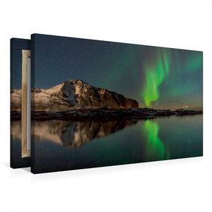 Premium Textil-Leinwand 75 cm x 50 cm quer Aurora Lofotis: Polar