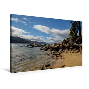 Premium Textil-Leinwand 90 cm x 60 cm quer Sand Harbor Beach / L