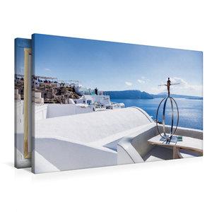 Premium Textil-Leinwand 90 cm x 60 cm quer Skulptur am Meer
