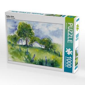 Sattes Grün 1000 Teile Puzzle quer