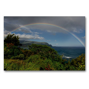 Premium Textil-Leinwand 90 cm x 60 cm quer Regenbogen über der H