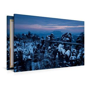 Premium Textil-Leinwand 120 cm x 80 cm quer Winter an der Bastei