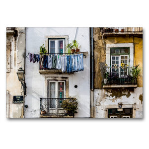 Premium Textil-Leinwand 90 cm x 60 cm quer Häuserfassade