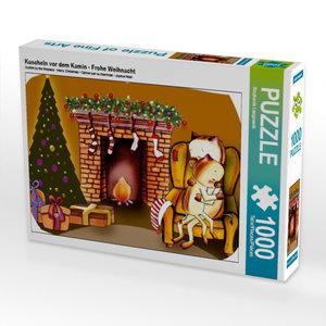 Kuscheln vor dem Kamin - Frohe Weihnacht 1000 Teile Puzzle quer