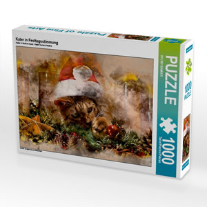 Kater in Festtagsstimmung 1000 Teile Puzzle quer