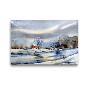 Premium Textil-Leinwand 45 cm x 30 cm quer Winter am Fluß
