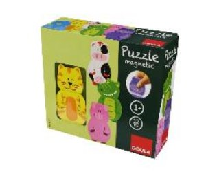 Goula D55234 - Magnetisches Holzpuzzle Tiere, 12-teilig