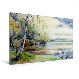 Premium Textil-Leinwand 120 cm x 80 cm quer Frühling am See