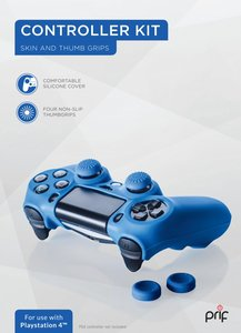 Controller Kit PlayStation 4 - Cover + Thumb Grips (Blau)