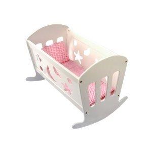 Bino 83699 - Puppenwiege mit Bettwäsche, Puppenbett aus Holz, 49