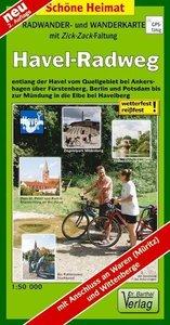 Havel-Radweg 1 : 50 000 Radwanderkarte mit Zick-Zack-Faltung