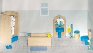 GOKI 51903 - Puppenmöbel Badezimmer für Puppenhaus, 17 Teile, Ho
