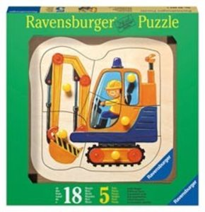 Gelber Bagger. Holz-Konturpuzzle