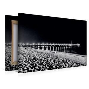 Premium Textil-Leinwand 45 cm x 30 cm quer Seebrücke bei Nacht