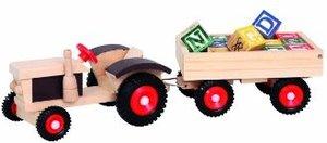 Bino 82077 - Holz-Traktor mit ABC-Anhänger