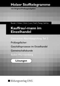 Stofftelegramme Kauffrau/-mann im Einzelhandel. Gestreckte Absch