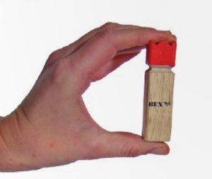Bex 518-011-1 - Mini Kubb Original mit rotem Kopf, kleine Versio