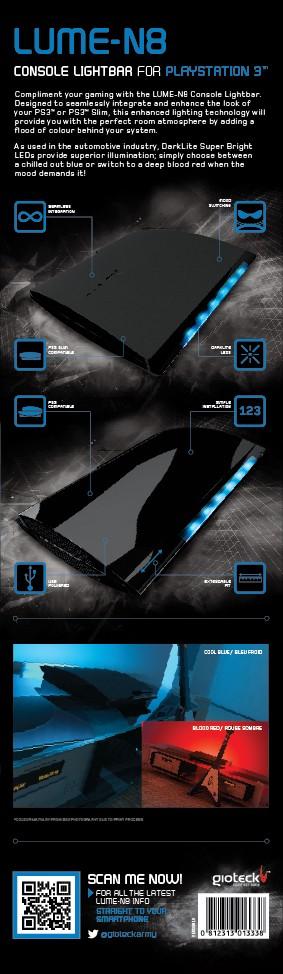 Gioteck LUME-N8 - PS3 Lightbar (USB-Lichtleiste) - zum Schließen ins Bild klicken