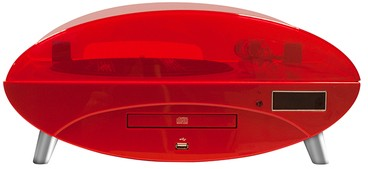 Plattenspieler Ellipse TD97 mit Radio, CD-/MP3-Player, rot-gloss - zum Schließen ins Bild klicken