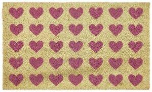 Polka Hearts, Fussmatte, rosa