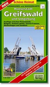 Hansestadt Greifswald und Umgebung Radwander- und Wanderkarte 1
