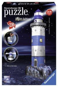 Ravensburger 12577 - Leuchtturm bei Nacht, 216 Teile - 3D-Puzzle