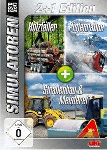 Simulator Bundel: Holzfäller, Pistenraupe, Strassenbau Sim 2+1 G