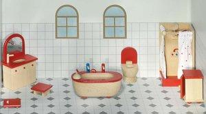 Goki 51959 - Puppenmöbel Badezimmer für Puppenhaus, 7-teilig