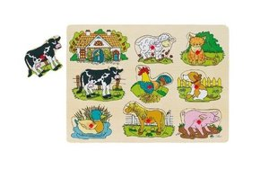 Goki 57895 - Steckpuzzle Bauernhof